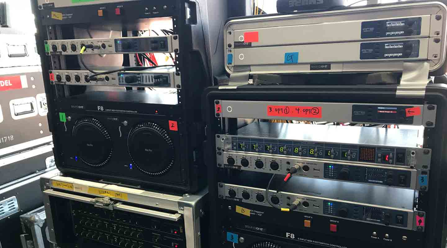 An insight into the sound setup: Fireface UFX+ interfaces in combination with MADI Bridge and MADI Router units from RME Audio